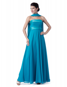 Abito cerimonia donna elegante lungo in voile con profili raso.