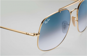 Ray Ban - Occhiale da Sole Unisex, The General, Gold/Blue Shaded  RB3561 001/3F  C57