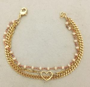 Bracciale in ottone galvanizzato , microcristalli rosa e cuore