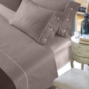 Set Completo Lenzuola con Fodera per Cuscino 50x80, Decorazione a Bottoni, Morbido Raso Cotone 100% Naturale, Tessuto Anallergico | CLOE