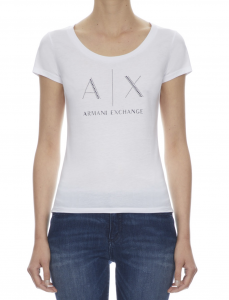 T-Shirt donna con logo in borchiette ARMANI EXCHANGE