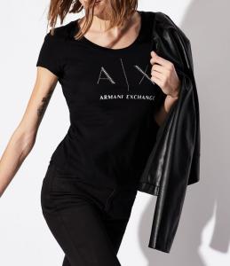 T-Shirt donna con logo in borchiette ARMANI EXCHANGE