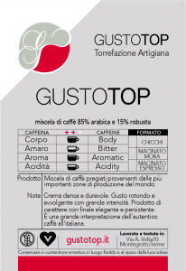 Miscela di caffè GustoTop ( 85% arabica 15% robusta) macinato per moka ed espresso, confezione da 250 grammi