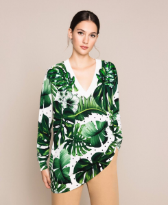 SHOPPING ON LINE TWINSET MILANO MAXI MAGLIA STAMPATA CON PAILLETTES NEW COLLECTION  WOMEN'S SPRING SUMMER 2020