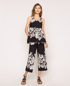 SHOPPING ON LINE TWINSET MILANO TOP IN POPELINE A FIORI NEW COLLECTION  WOMEN'S SPRING SUMMER 2020