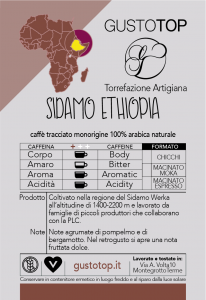 Caffè monorigine in grani Etiopia Sidamo confezioni disponibili: 1kg, 500 gre 250 gr