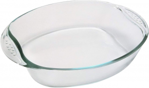 Pirofila ovale in vetro trasparente con manici 2 Litri cm.30x21x6,5h
