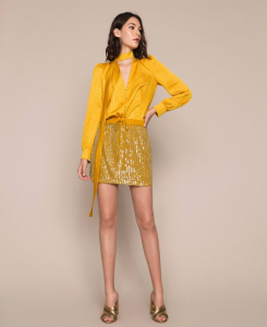SHOPPING ON LINE TWINSET MILANO GONNA CORTA IN TULLE RICAMATA A MANO CON FULL PAILLETTES NEW COLLECTION  WOMEN'S SPRING SUMMER 2020