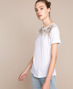 SHOPPING ON LINE TWINSET MILANO T-SHIRT IN JERSY CON INTARSIO  NEW COLLECTION  WOMEN'S SPRING SUMMER 2020