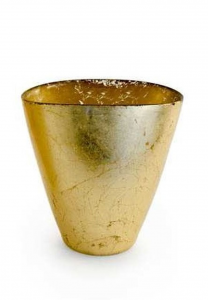 Vaso ovale in vetro foglia oro cm.18x12x19h
