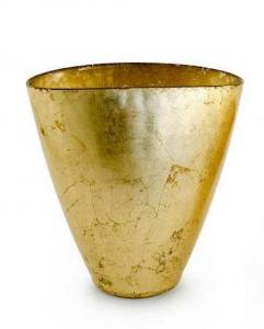 Vaso ovale in vetro foglia oro cm.23,5x14x23,5h