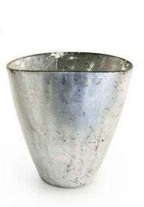 Vaso ovale in vetro foglia argento cm.18x12x19h