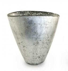 Vaso ovale in vetro foglia argento cm.23,5x14x23,5h