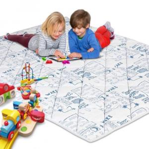Tappetino da Gioco per Bambini e Neonati Imbottito in Schiuma Morbida e con Tessuto Anallergico | Colore Blu