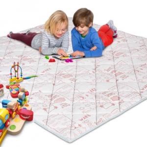 Tappetino da Gioco per Bambini e Neonati Imbottito in Schiuma Morbida e con Tessuto Anallergico | Colore Rosa