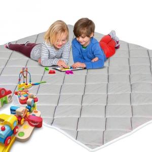 Tappetino da Gioco per Bambini e Neonati Imbottito in Schiuma Morbida e con Tessuto Anallergico | Colore Grigio