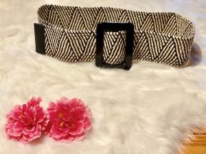 Cintura Nalì alta elastica in rafia nera e beige