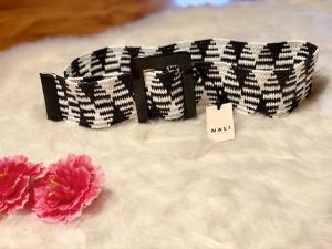 Cintura Nalì alta elastica in rafia nera e bianca