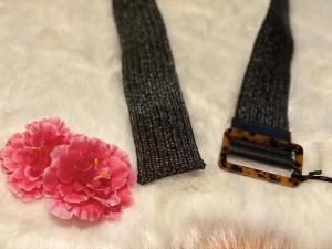 Cintura Nalì  elastica in rafia nera