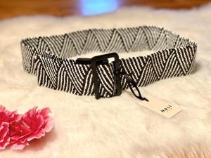 Cintura Nalì  elastica in rafia bianca e nera