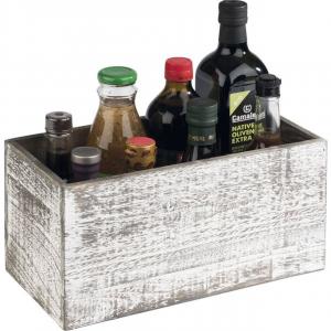 Portatutto olio aceto da tavolo in legno finitura vintage cm.30x15x15h
