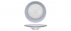 Piatto pasta in vetro con fascia argento metallizzato cm.diam.30