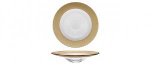 Piatto pasta in vetro con fascia oro metallizzato cm.diam.30