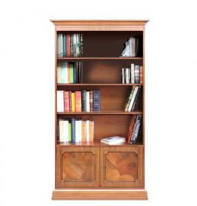 Librería de madera con puertas de raíz y estantes regulables