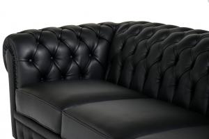 ANN - Divano Chesterfield in pelle pieno fiore nero 3 posti con lavorazione capitonnè - piedini in legno color noce - offerta