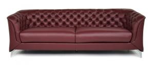 ZELMA - Divano moderno tipo Chesterfield 4 posti in pelle di colore rosso bordeaux e piedi in metallo cromato
