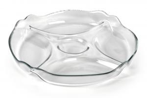 Antipastiera in vetro a scomparti cm.4,7h diam.25,5