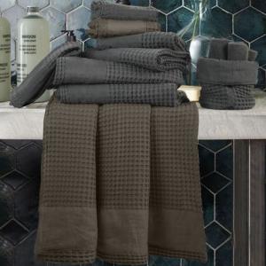 Set Asciugamani da Bagno Nido d'Ape in 100% Puro Cotone Naturale con Decorazione in Lino | APONE