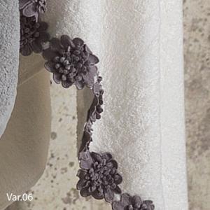 Set Asciugamani da Bagno in 100% Puro Cotone Naturale, Coppia Spugne Viso 60x105 cm + Ospite 60x40 cm, Decorazione Floreale | CATERINA