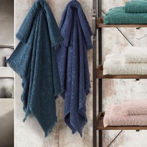 Set Asciugamani da Bagno in 100% Puro Cotone Naturale, Coppia Spugne Viso 60x105 cm + Ospite 60x40 cm, Decorazione Allover Jacquard | MELISSA