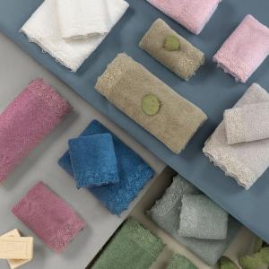 Set Asciugamani da Bagno in 100% Puro Cotone Naturale, Coppia Spugne Viso 60x105 cm + Ospite 60x40 cm, Decorazione Pizzo Floreale | SALINA