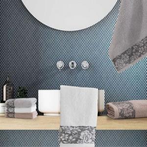 Set Asciugamani da Bagno in 100% Puro Cotone Naturale, Coppia Spugne Viso 60x105 cm + Ospite 60x40 cm, Decorazione Balza Jacquard | ZOE
