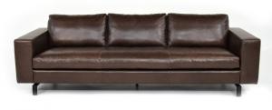 GRADY - Divano in pelle color cuoio a 4 posti con base e piedi ferro, cuscini in piume d' oca e inserto in memory