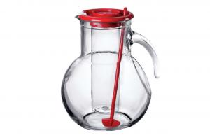 Brocca in vetro Kufra 2 litri tappo rosso con portaghiaccio e miscelatore cm.21,5h diam.16,5