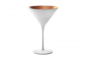 Coppa Martini, in vetro bicolore colore bianco, interno color bronzo cl 24, Set 6 pezzi cm.17,2h diam.11,6