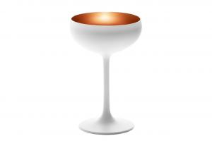 Coppa da champagne, in vetro bicolore colore bianco, interno colore bronzo cl 23, Set 6 pezzi cm.0x0x14,8h diam.9