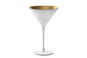 Coppa Martini, in vetro bicolore colore bianco, interno color oro cl 23, Set 6 pezzi cm.17,2h diam.11,6