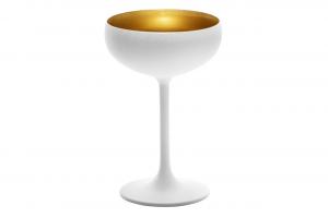 Coppa da champagne, in vetro bicolore colore bianco, interno color oro cl 23, Set 6 pezzi cm.14,8h diam.9,3