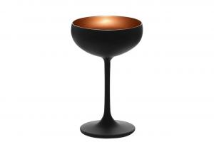 Coppa da champagne, in vetro bicolore colore nero, interno colore bronzo cl 23, Set 6 pezzi cm.14,8h diam.9,5