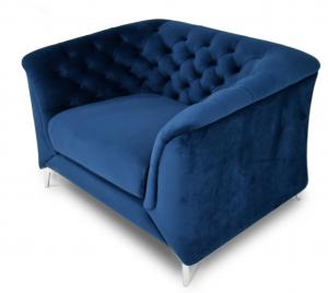 NERISSA - Poltrona Chesterfield moderna in tessuto microfibra effetto velluto di colore blu e piedi in metallo cromato
