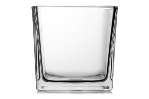 Vaso cubo in vetro cm.12x12x12h
