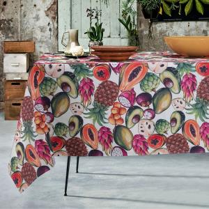 Tovaglia Antimacchia Impermeabile in Cotone 100% NATURALE, Design Frutta Esotica, Decorazione della Tavola da Pranzo | TROPICAL
