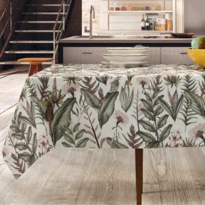 Tovaglia Antimacchia Impermeabile in Cotone 100% NATURALE, Design Piante Tropicali, Decorazione della Tavola da Pranzo | GIUNGLA