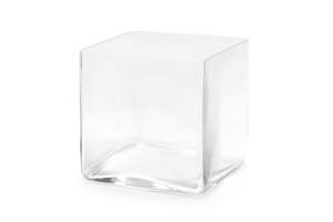 Vaso a cubo in vetro trasparente