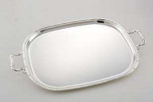 Vassoio ovale stadio con manici, placcato argento, stile Rubans Croises cm.45x35