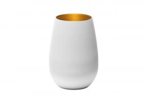 Set 6 pezzi bicchieri acqua in vetro colore bianco, interno color oro cl 46,5 cm.12h diam.8,5